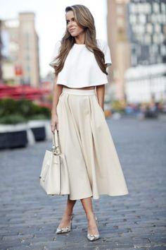 30 модни идеи с обемна миди пола и топ