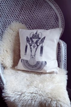 100% cotton cushion, medium size, golden pipin( Dimensions: 40 x 40 cm )B&W illustration by Koralie & Little Madi MADE IN FRANCE http://www.metroplastique.com/deco-toy/218-coussin-ma-biche-moscovit.html