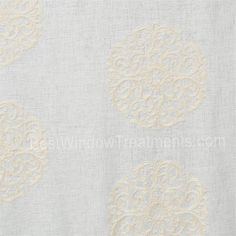 Windsor Medallion Curtain Drapery Panel in cream color. linen blend with medallion embroidery