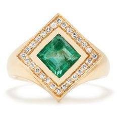 Jade Jagger Diamond, emerald & yellow-gold Kite ring (5,435 CAD) ❤ liked on Polyvore featuring jewelry, rings, green, yellow gold diamond rings, emerald gold ring, square diamond rings, green gold ring and bohemian rings