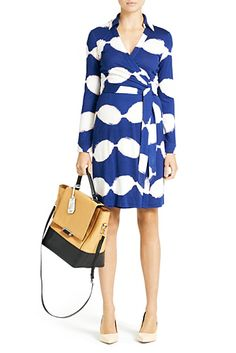 DVF | New Jeanne Two Dress In Shibori Leaves Navy, Spring 2013: Palazzo