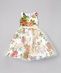 Kid Fashion White & Green Floral A-Line Dress - Infant, Toddler & Girls