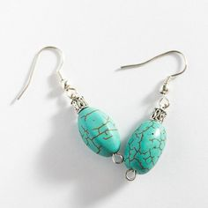 Turquoise Earrings Wire Wrapped Turquoise Howlite by MaddaKnits