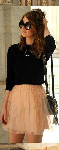 black long sleeve, tan chiffon skirt, handbag and shades