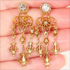 Fantastic Antique Night and Day Diamond Stud and Chandelier Earrings, 18k Gold