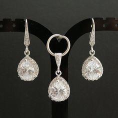Wedding Jewelry Bridal Jewelry Set Silver Clear Cubic Zirconia Dangle Earrings Clear Cubic Zirconia Teardrop Necklace Wedding Earrings