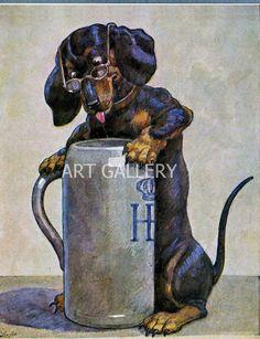 DACHSHUND BEER STEIN Vintage Postcard Art Print Magnet ...