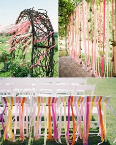 Stripes Table Decoration Inspiration Colorful Ribbons for Wedding Outdoor Wedding Decorations On A Budget, Bridal Shower Decorations, Rose Wedding, Dream Wedding, Pink Yellow Weddings, Dyi Wedding Invitations, Rainbow Decorations, Handfasting, Festival Wedding