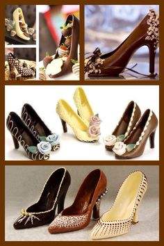 Chocolate and shoes make a perfect pair. Chocolate Work, Chocolate Molds, Delicious Chocolate, Chocolate Desserts, Chocolate Covered, White Chocolate, Chocolate Cake, Chocolates, Chocolate Centerpieces
