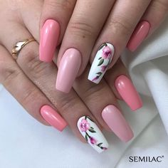 Sweet coffin pink nails accent casket floral nail f . Sweet coffin pink nails accent coffin floral nail for spring 2019 # feather nails … Pink Nail Art, Cute Acrylic Nails, Acrylic Nail Designs, Cute Nails, Nail Art Designs, My Nails, Nails Design, Pink Manicure, Nail Designs Floral
