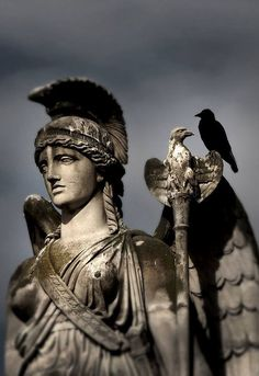 Nike goddess of victory. Peace descends when she does. For she spreads victory...