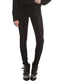 HOTTOPIC.COM - Black Front Lace-Up Leggings