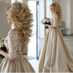 Champagne Wedding Dress, Champagne Prom Dress, Prom Dress with Sleeves,Ball Gown Prom Dress,MA004