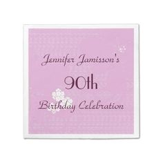 Pink Floral Paper Napkins, 90th Birthday Party Napkin