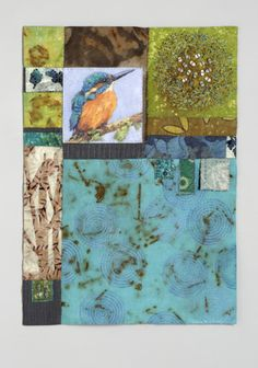 Fiber Wall Piece with embroidery and hand quilting (Contemporary Fiber Art)
