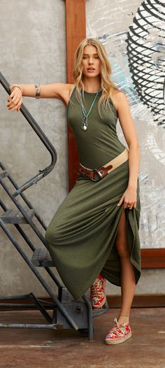 Now Trending Color, Paradise Found Green : The ribbed cotton maxi dress from Polo Ralph Lauren is a versatile wardrobe must-have.