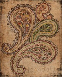 bohemian art boho decor paisley drawing mixed media colorful art 8 x 10 paper PRINT parchment hippie gypsy