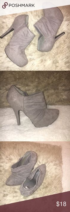 Guess suede platform Booties size 8 Guess suede platform Booties size 8. Only worn once the cut is narrow Guess Shoes Heels