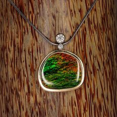 Ammolite and Diamond Pendant / Green Yellow by WatertonJewelry, $3400.00