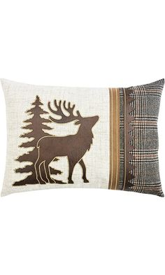 "Comfy Hour 18""x13"" Plaid Moose Pillow Best Price"