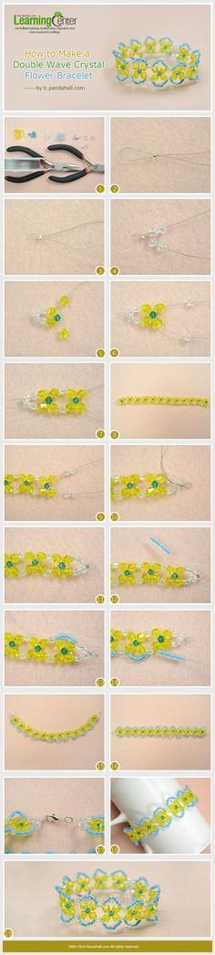 How to Make a Double Wave Crystal Flower Bracelet