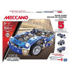 Use your imagination as you explore the world of real engineering with the Meccano 5 Model Race Cars Set. Build 1 of the 5 race cars models. Then take it apart and build a different one. After that it