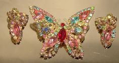 Signed Vintage WEISS Multi Colour Rhinestone BUTTERFLY Pin & Earrings Set c1950s Pinks Blues on Etsy, $80.00