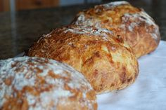 No-knead crusty artisan bread with two flavor variations: { lemon + rosemary + gruyere } and { cranberry + orange + almond } | Simply So Good