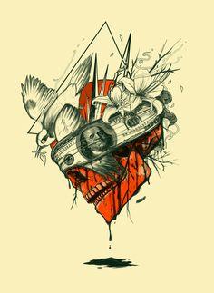 Blind Art Print skull bird Blind Art, Illustration Art, Illustration Fashion, Skull Art, Cool Artwork, Mixed Media, Skull Drawings, Tattoo Designs, Art Prints
