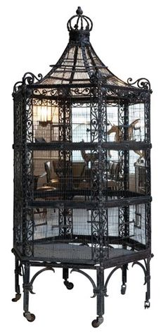Art Nouveau Wrought Iron Birdcage, The bird cage is equally a property for your birds and an ornamental tool. You are able to select anything you need one of the bird cage models and get far more particular images. Art Nouveau, Gothic House, Victorian Gothic, Vintage Gothic Decor, Art Deco Table, Antique Bird Cages, Muebles Art Deco, French Art Deco, Gothic Garden