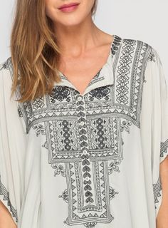 Detail: Johnny Was Biya Embroidered Marisol Kaftan in Cream with Black #transylvanian #embroidery #design