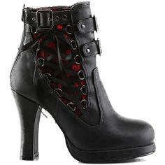 Women's Demonia Crypto-51 Platform Two Tone Corset-Style Ankle Boot... ($78) ❤ liked on Polyvore featuring shoes, boots, ankle booties, black booties, black ankle bootie, black lace booties, platform ankle boots and black block heel booties
