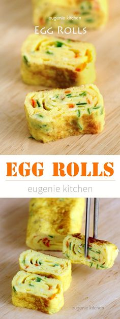 Egg Rolls (Tamagoyaki) Improve your cooking skills with this delicious Asian egg. - Egg Rolls (Tamagoyaki) Improve your cooking skills with this delicious Asian egg rolls. Korean Egg Roll, Egg Roll Recipes, Healthy Recipes With Eggs, Simple Egg Recipes, Healthy Kids, Egg Recipes For Lunch, Vegetarian Asian Recipes, Vegetarian Diets, Vegetarian Lunch