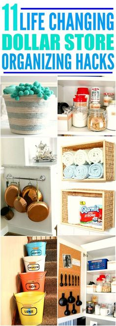 These 11 life changing dollar store organizing hacks are THE BEST! I'm so glad I found these AMAZING tips! Now I have great ways to keep my home organized on a dime! Definitely pinning for later!