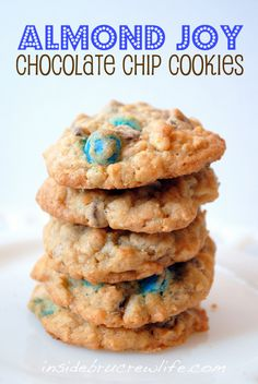 Almond Joy Chocolate Chip Cookies from insidebrucrewlife.com - chocolate chip cookies jazzed up with almonds, coconut, and Almond Joy candies #cookies #almondjoy