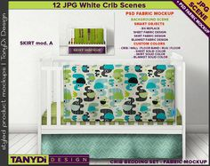 Crib Bedding Photoshop Fabric Mockup 3CBS2 | White crib Full Blanket Sheet Skirt-A | 12 Nursery Interior JPG Scenes| Custom colors Tags