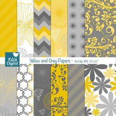 Papéis Digitais Amarelo e Cinza