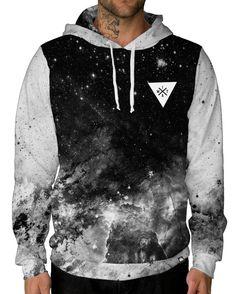 SESY Mens Hoodie Long Sleeve Sweatshirt Flying Sharks Cool Printed Hooded Pullover Pocket Black