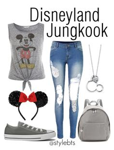 """""""Disneyland with BTS- Jungkook"""" by hoyangelica ❤ liked on Polyvore featuring Miss Selfridge, Converse, STELLA McCARTNEY and Disney"""