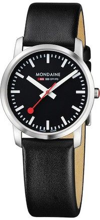 Mondaine is well known for its Swiss Watch quality and Swiss Designs. The Mondaine SBB Line of Swiss Watches and Clocks are based on the original design of the Swiss Railways Clock of Diy Leather Bracelet, Bracelet Cuir, Swiss Railway Clock, Dezeen Watch Store, Swiss Made Watches, Black Leather Watch, Red Leather, Best Watch Brands, Elegant Watches