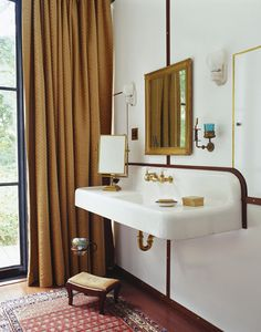 vintage farm sink and brass fixtures