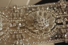 Hand Beaded Wedding Sash belt - Bridal Sash - MI