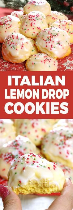 Lemon drop cookies, iced Italian cookies or anginetti, whate. - Lemon drop cookies, iced Italian cookies or anginetti, whatever your family calls them you'll be sure to find these traditional Italia Italian Cookie Recipes, Italian Cookies, Italian Foods, Italian Snacks, Drop Cookie Recipes, Holiday Baking, Christmas Baking, Just Desserts, Dessert Recipes
