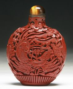 A Chinese Antique Lacquer Snuff Bottle: of mid to late Qing Dynasty