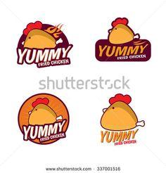 Yummy Fried chicken logo vector set design