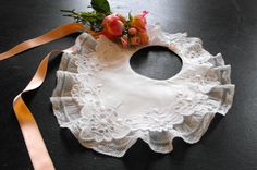 French Vintage Baby Bib Lace and Hand by Vintagefrenchlinens, $42.50