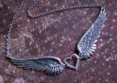 Angel Wing Necklace -Two GORGEOUS DETAILED Wing Pendants- w/ HEART Charm -Silver Jewelry. Faith. Chic Silver Jewelry- 'Come Fly With Me' on Etsy, $29.00