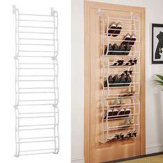 White 36Pair Over-The-Door Shoe Rack Wall Hanging Closet Organizer Storage Stand