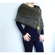 3 Button Loose Knit Poncho Knitting pattern by CamexiaDesigns Poncho Knitting Patterns, Christmas Knitting Patterns, Arm Knitting, Knitted Poncho, Crochet Shawl, Knit Crochet, Knitting Needles, Baby Scarf, Dress Gloves