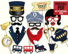 Train party photo booth props: printable PDF. Train party printables. Railroad party props. Train party supplies. Boy birthday party props.